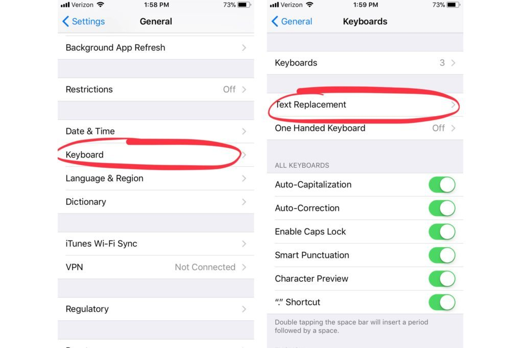 iphone settings - keyboard