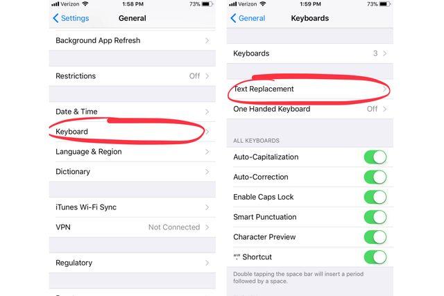 iphone settings - keyboard