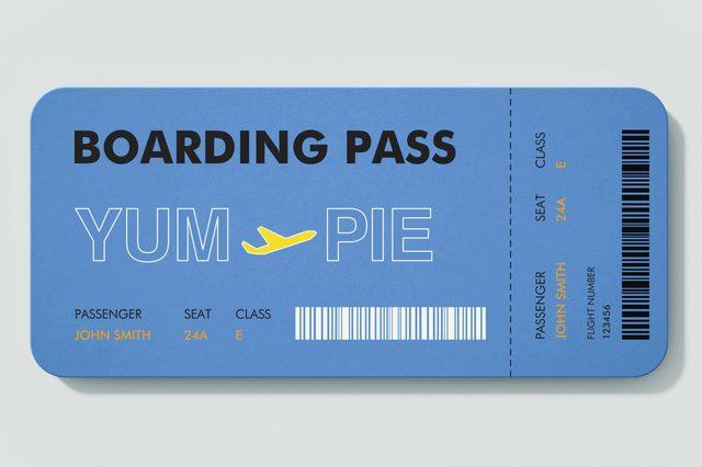 boarding pass. YUM to PIE