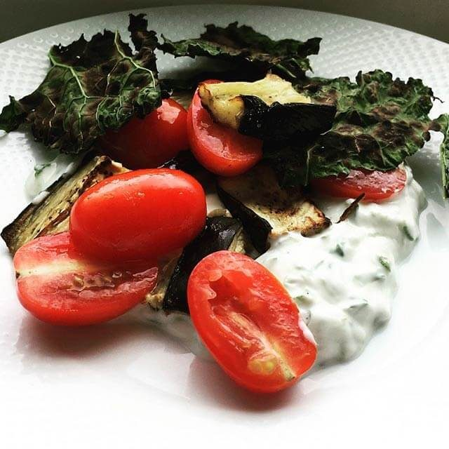Crispy Kale and cherry tomatoes