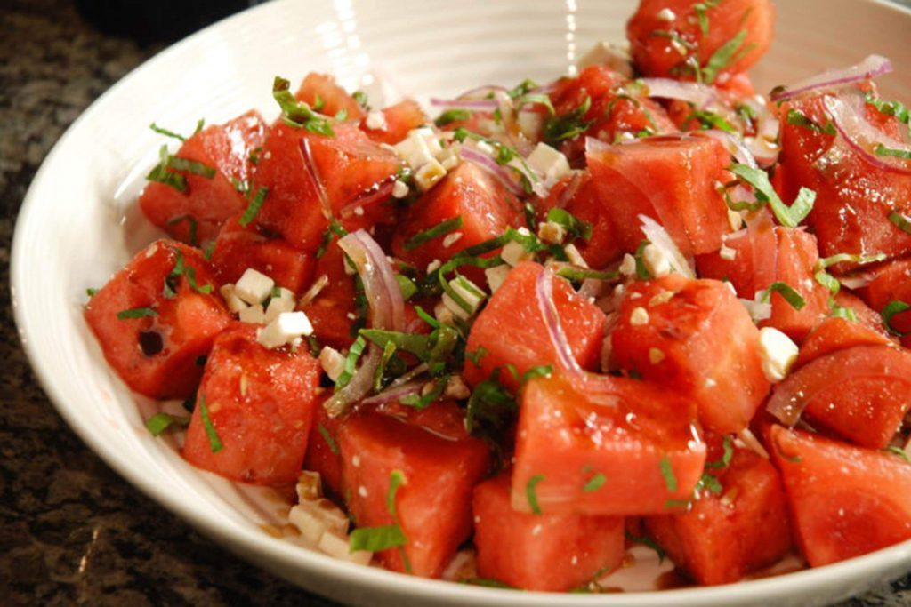 watermelon with basil and shallots
