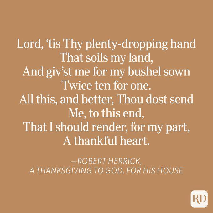 Robert Herrick Thanksgiving Blessing