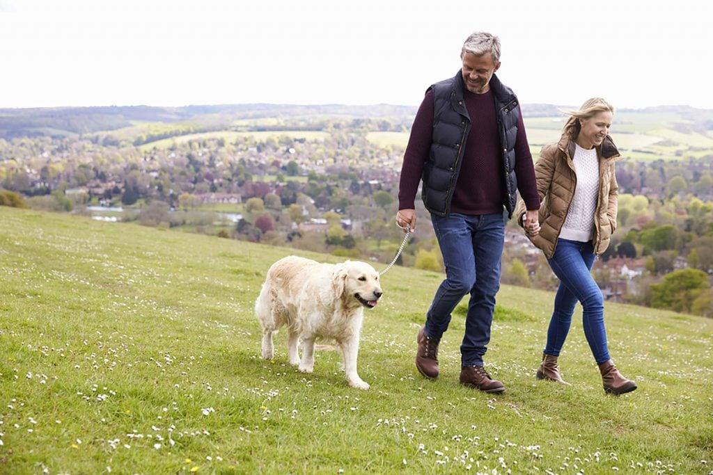 couple-Walking-the-dog