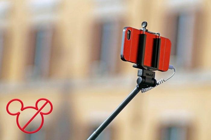 phone on a selfie stick