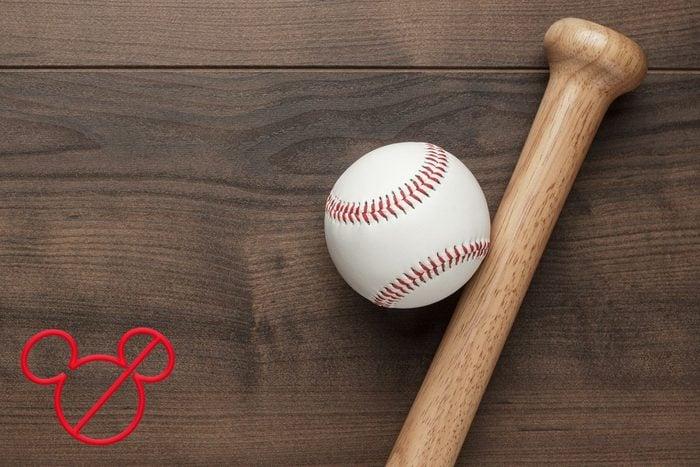 baseball and bat handle close up
