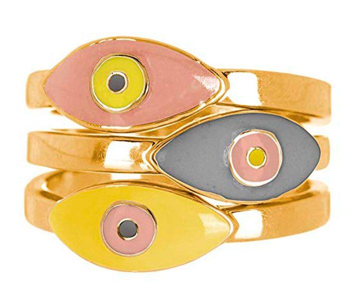 Gold Plated evil eye ring set