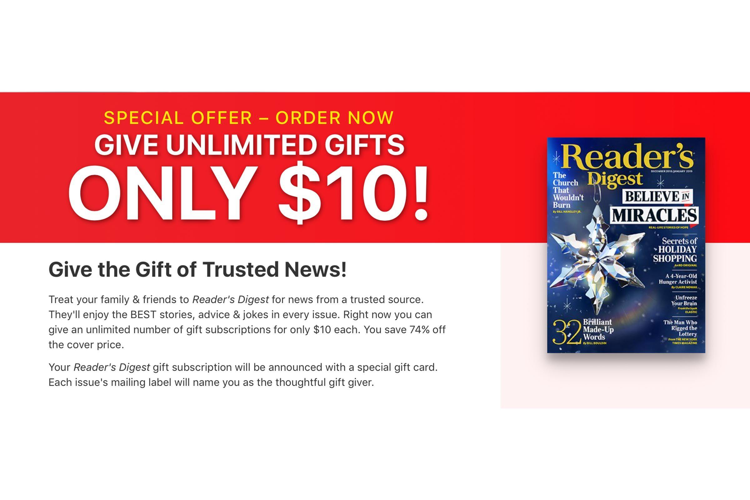 Reader's Digest subscription