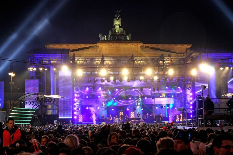 BERLIN, GERMANY - JANUARY 1: New 2012 Year celebrations taking place at Pariser Platz near Brandenburg Gate on January 1, 2012 in Berlin