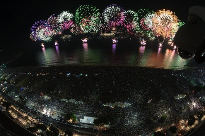 "New Year's Eve at Copacabana Beach, Rio de Janeiro, Brazil. The ""reveillón"" party is amongst the largest of the world. This unique angle shows the spectacular fireworks."