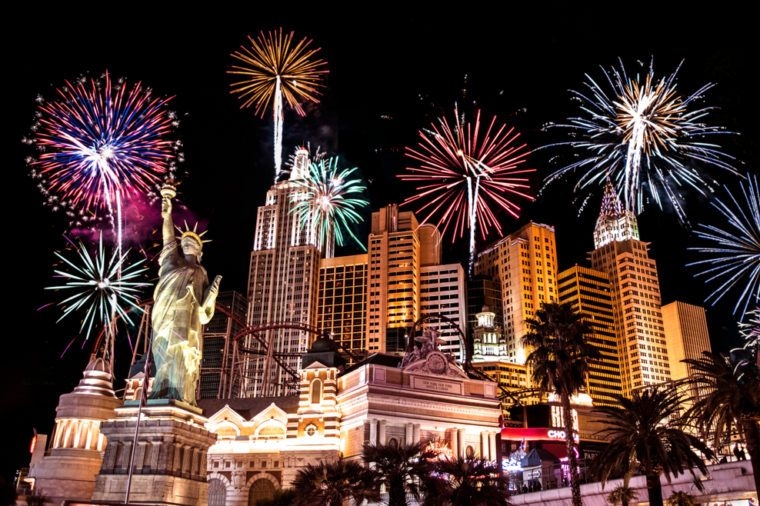 New Year fireworks in Las Vegas's New York New York Hotel. Las Vegas,Nevada,USA. Date:31st December,2017