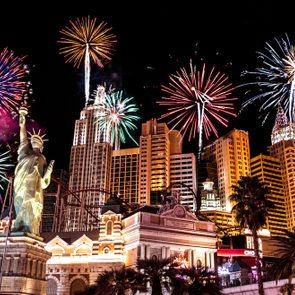 New Year fireworks in Las Vegas's New York New York Hotel. Las Vegas,Nevada,USA. Date:31st December,2017