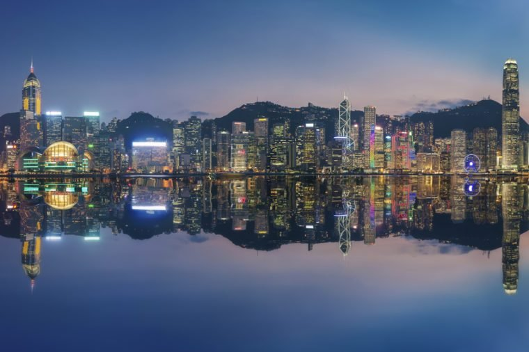 Panorama of Victoria Harbor in Hong Kong at dusk