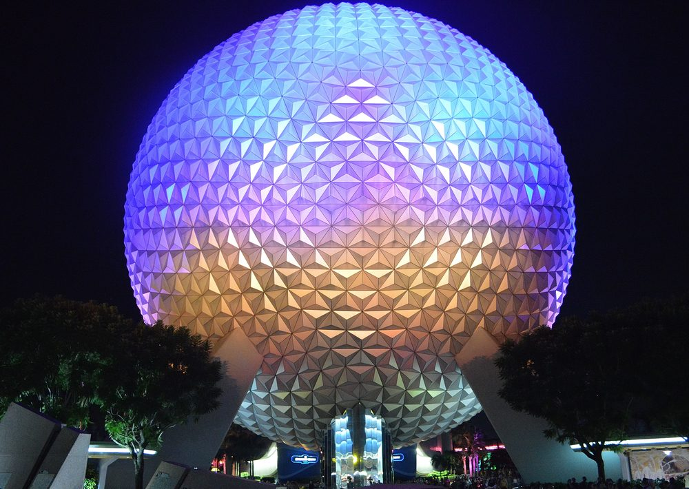 SPHERE OF EPCOT CENTER, ORLANDO, JULY, 2016. View of the beautiful and imposing colored sphere located at the entrance of Epcot Center. Editorial photo