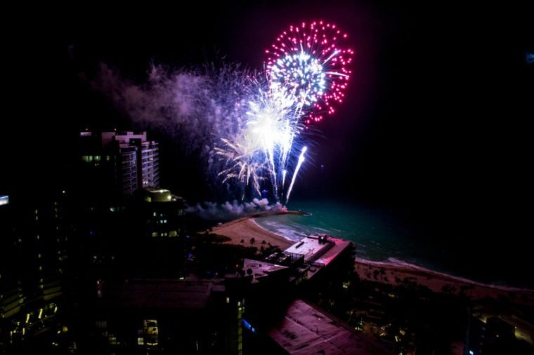 Miami New Years Eve Night lights city fireworks south beach bal harbor florida