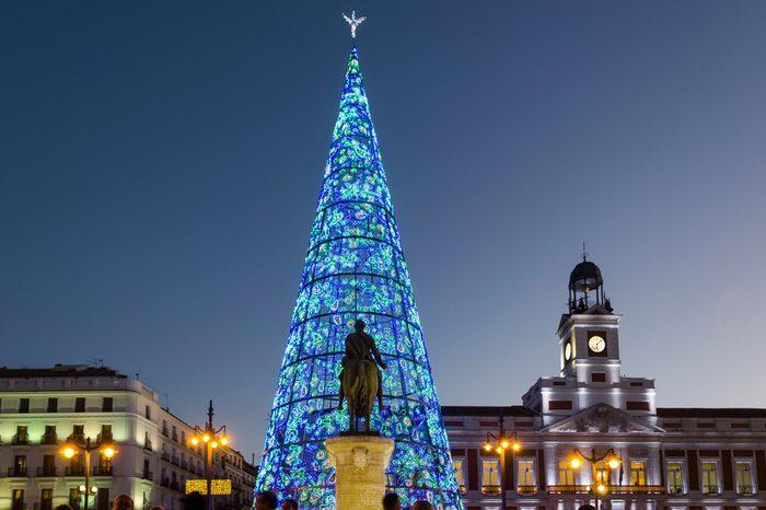 Christmas Tree at Puerta del Sol in Madrid, Spain.