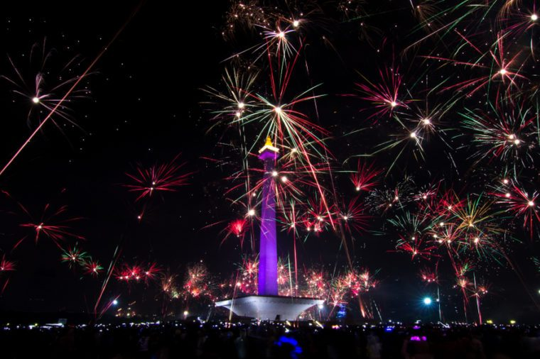 Jakarta City when celebrating New Year with fireworks at National Monument (Monas)