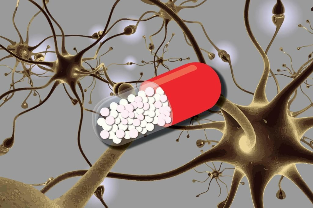 Illustration of a vitamin B3 capsule on a brain synapse backdrop.