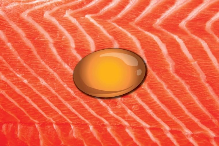 Illustration of an omega-3 fish oil supplement on a salmon backdrop.