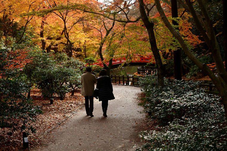 Couple-walking-through-park