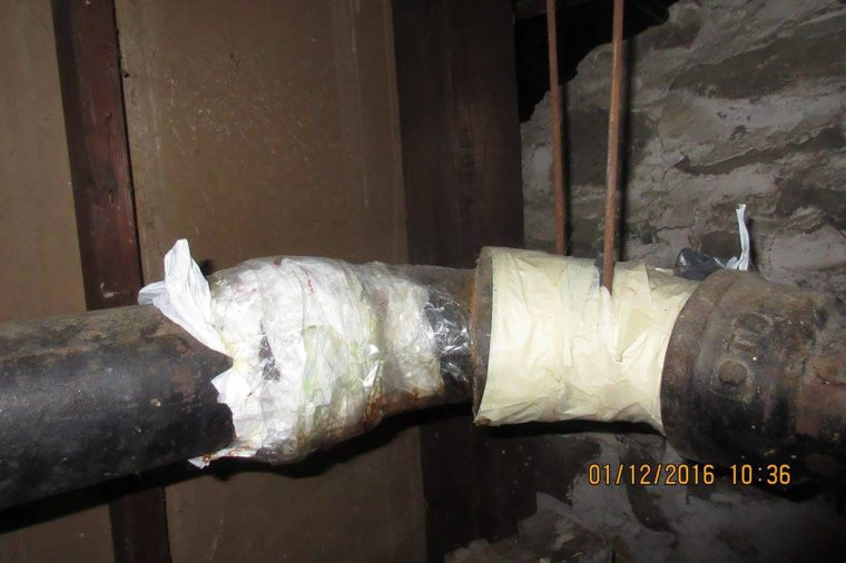 Plastic-wrapped-plumbing