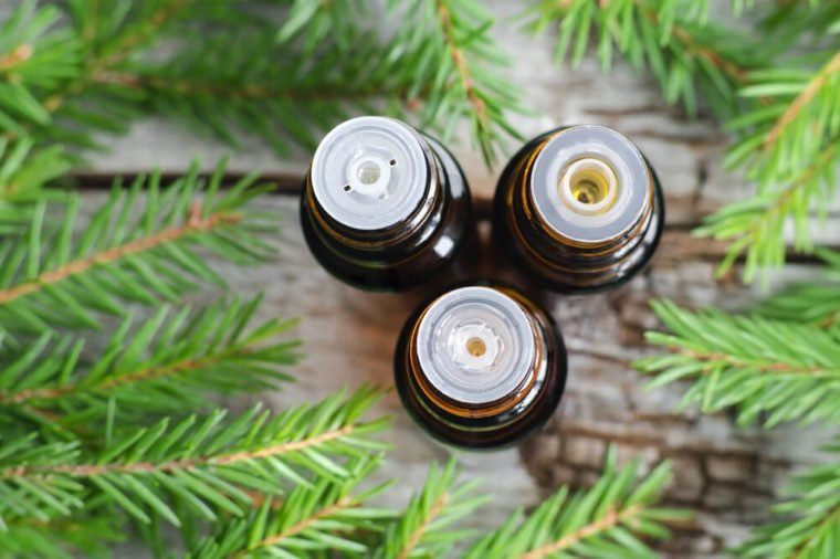 Three bottles of essential oil and fir branches. Christmas aromatherapy and spa concept.