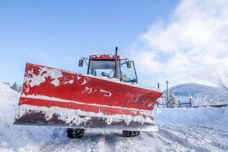 Snow plow machine paddle