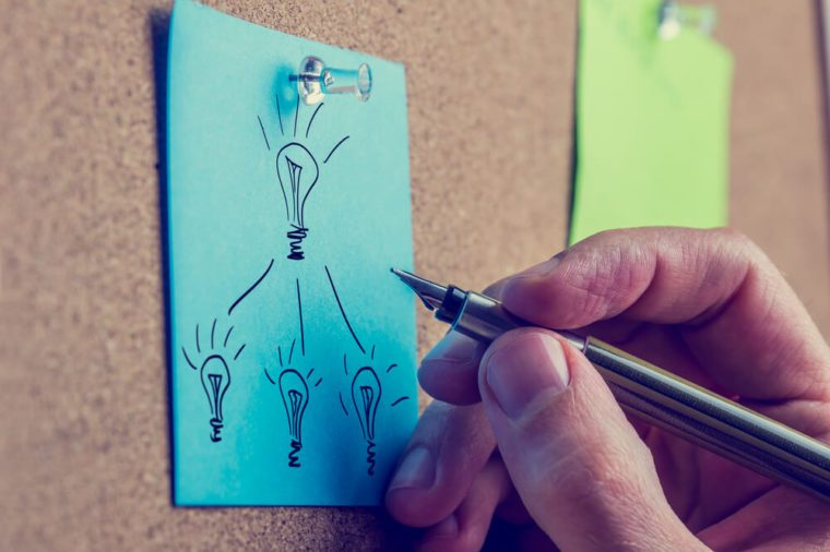 Retro image of the hand of a man working on a business plan writing on a blue sheet of paper on a notice board drawing a flow chart with light bulbs representing bright ideas.