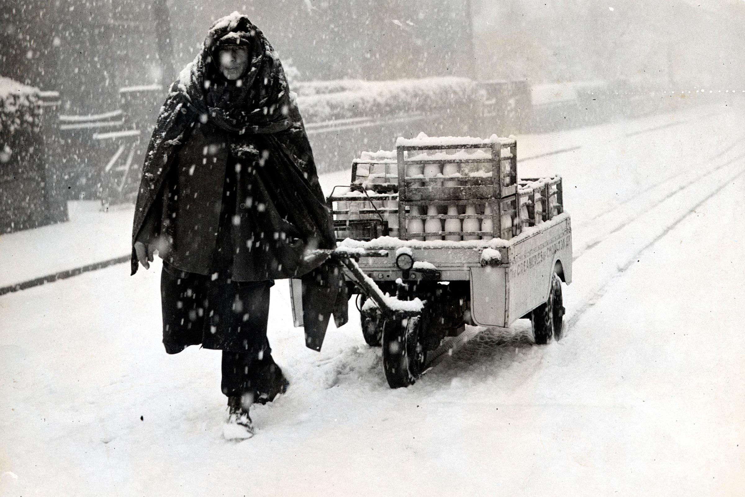 Milkman in snow
