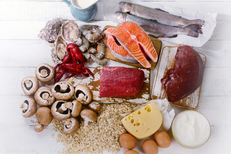 Foods of Vitamin B12 (Cobalamin). Healthy diet eating. Top view