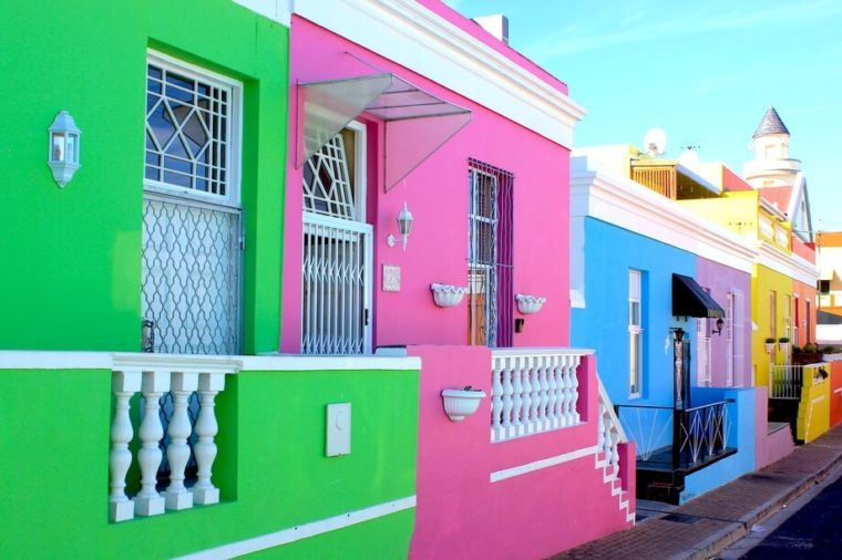 Colorful houses in Cape Town, South Africa