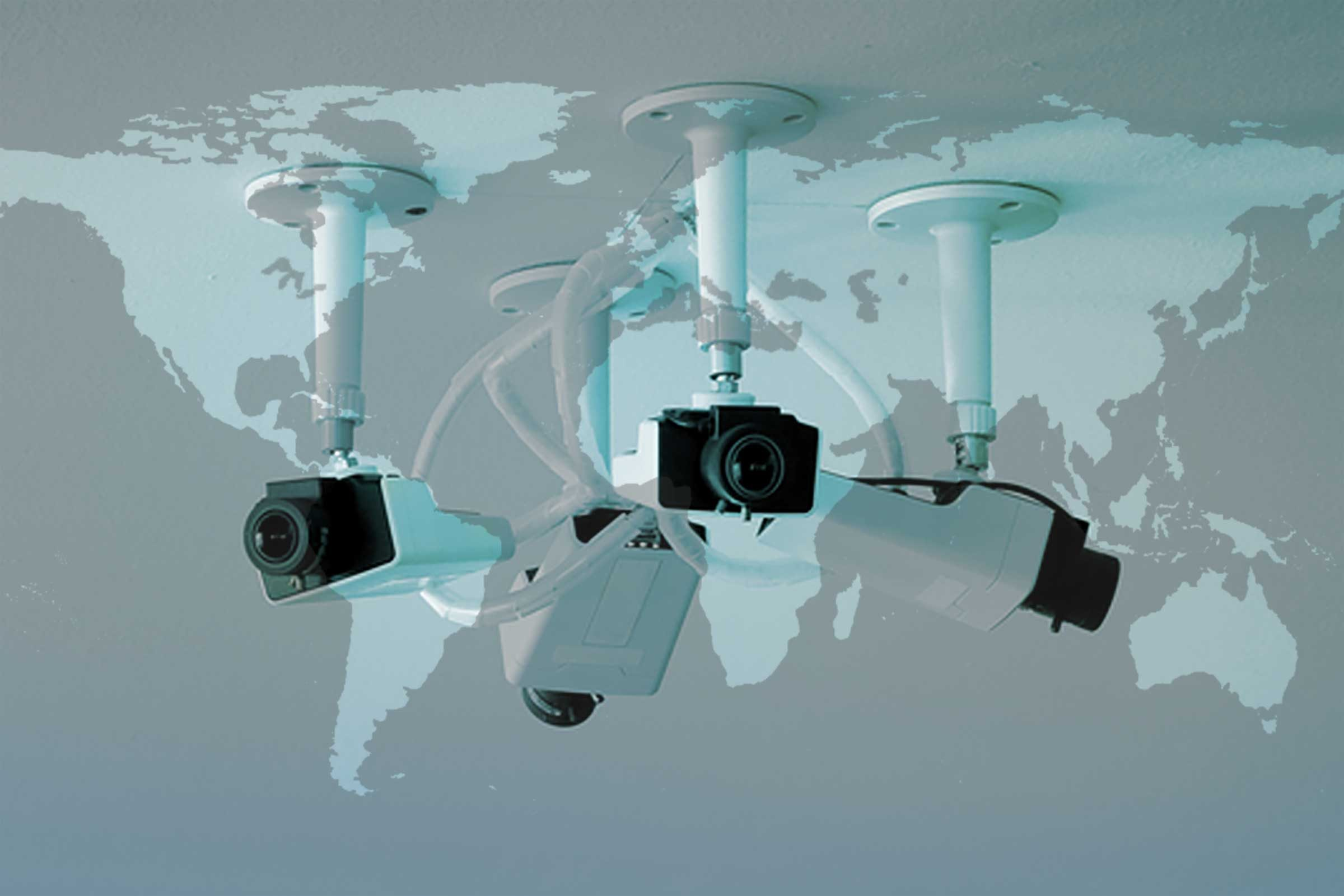 security cameras with world map