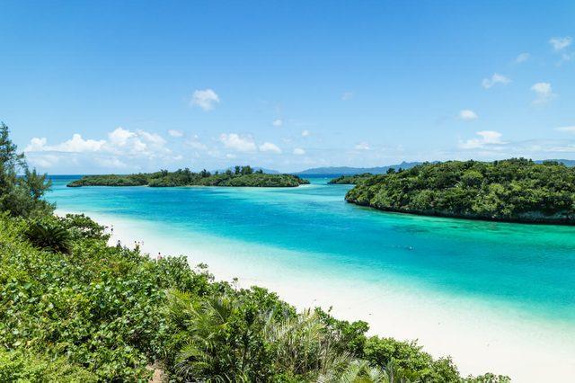 Tropical Japanese beach with clear turquoise lagoon water, Ishigaki Island National Park of the Yaeyama Islands, Okinawa