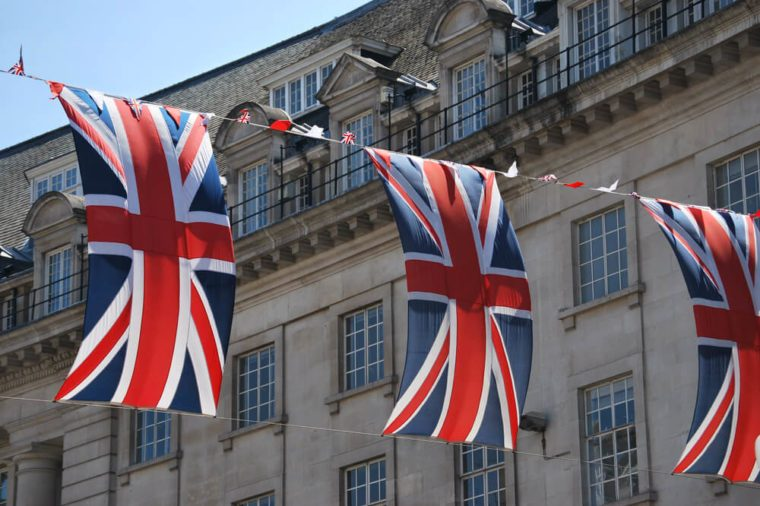 Union Jack flags in Regent Street, London, UK