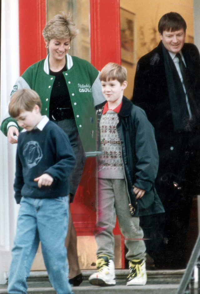 Princess Diana Leaving Harry's School With Prince William On His First Day Back