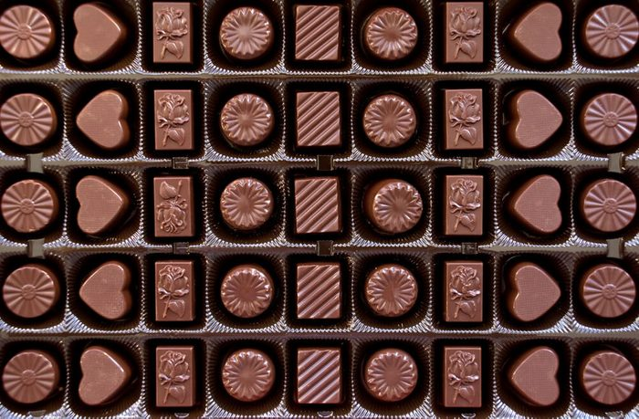Box with chocolate candies' rows