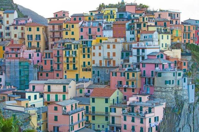 Scenic view of colorful houses in Cinque terre village Manarola