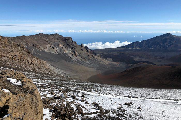 Haleakala trail covered in snow