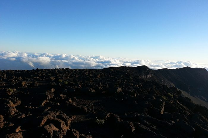 Hawaii mountain with clouds