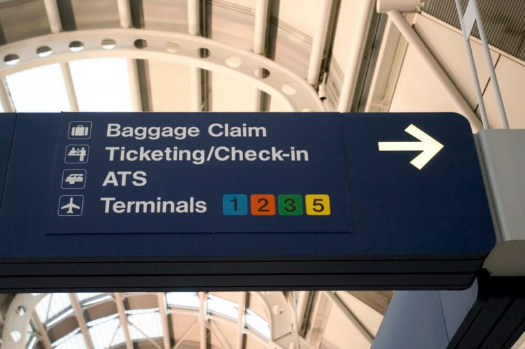Airport sign in Chicago O'Hare International Airport
