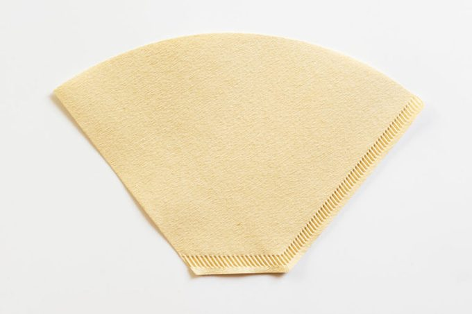 Cone-type coffee filter for pour over coffee, made of unbleached paper