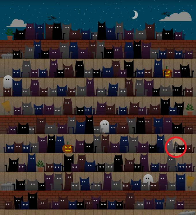 find the witch hat among the cats hidden objects puzzle answer