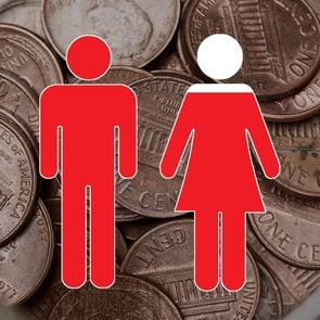 jar of pennies with form of man and woman overlay