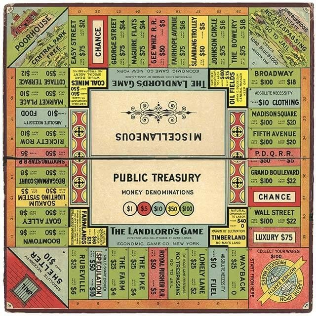 first monopoly board