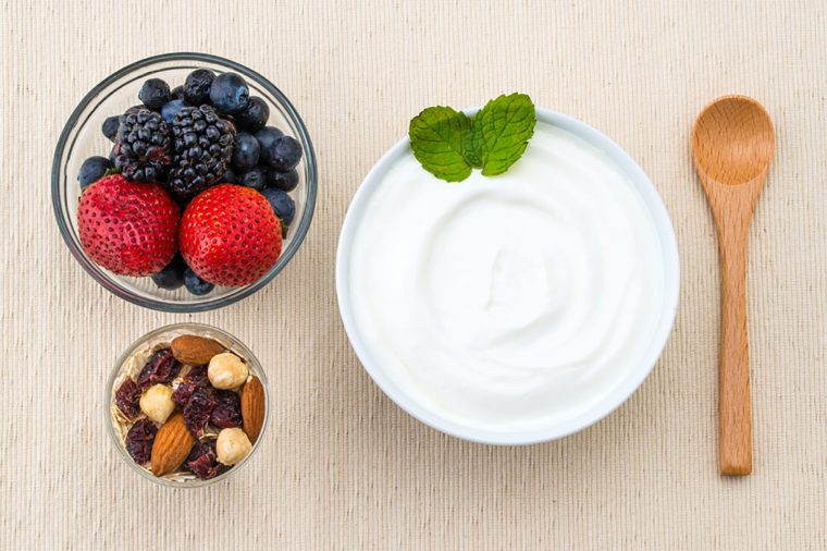 Clean Eating Diet Greek Yogurt With Mashed Berries And Nuts