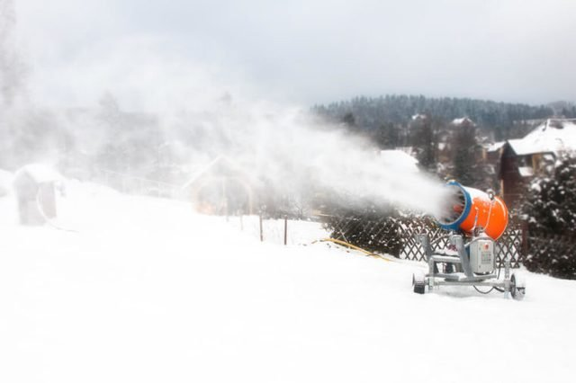 snow cannon, snow powder making on the ski slope