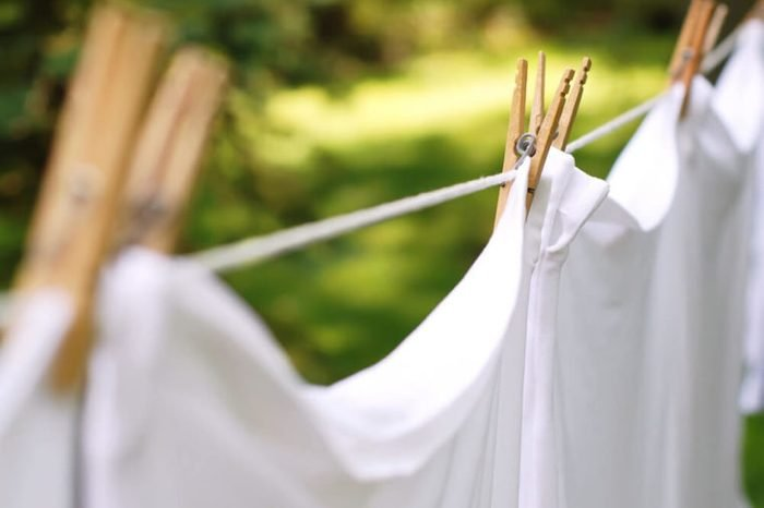 whites hanging from a clothesline
