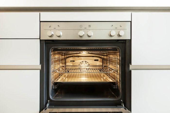 modern kitchen, inside of the oven, open
