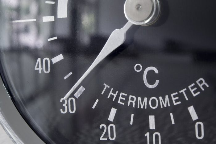 Circle thermometer, temperature and humidity of climate