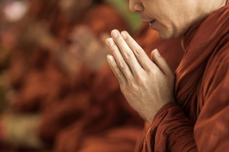 pray of monks on ceremony of buddhist in Thailand