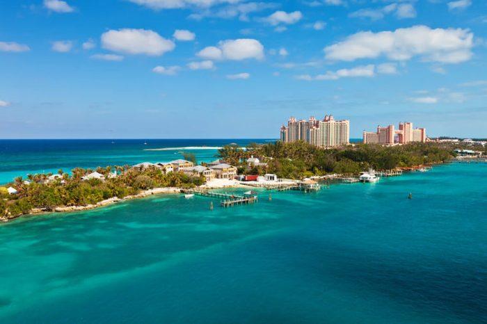 Long stretch of Paradise Island, located in Nassau, Bahamas